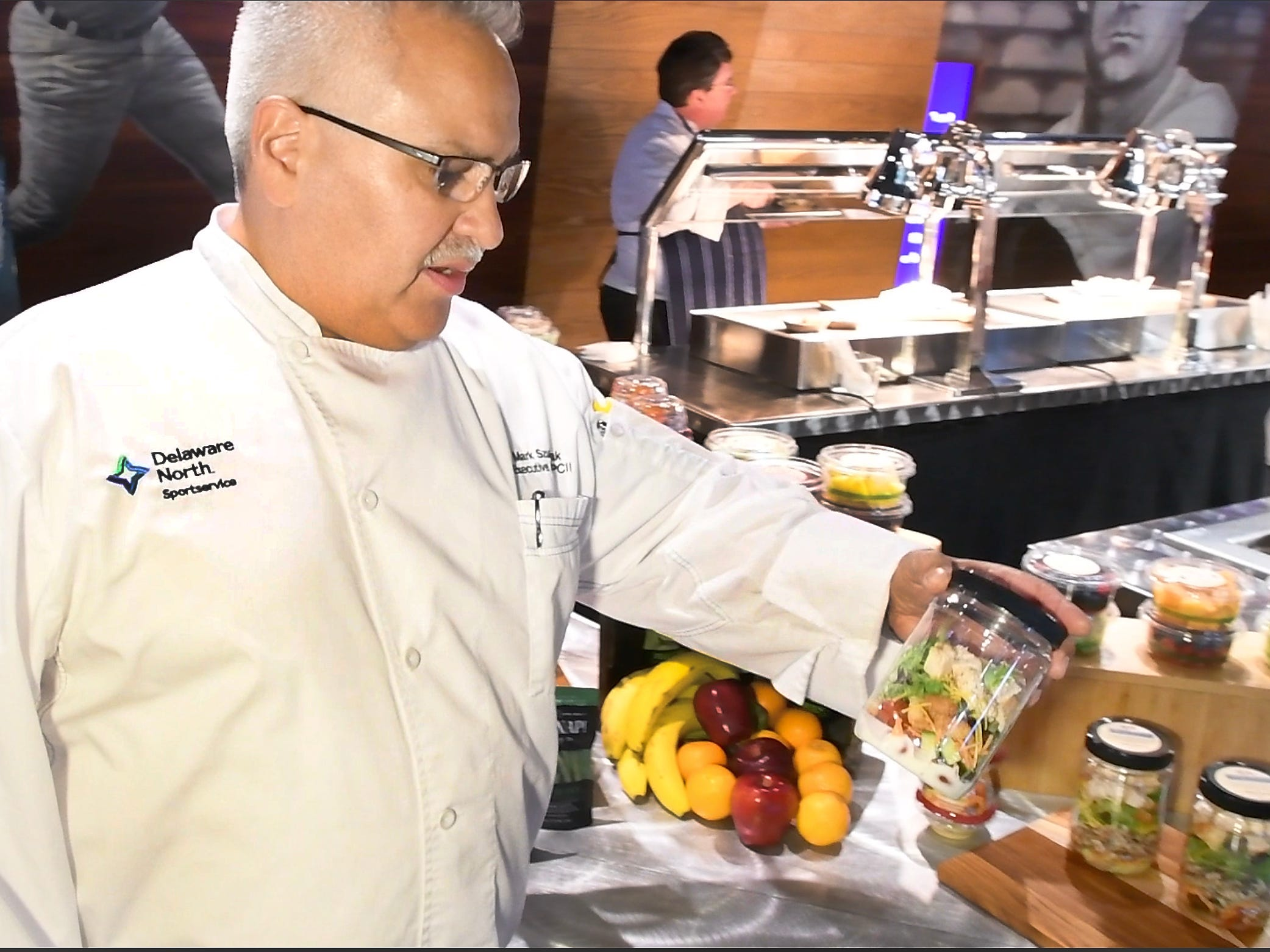 Executive Chef Mark Szubevczak shows off some of the various new menu items including the Garden Salad Jars consisting of fresh spring mix, cheese and vegetables layered in a jar with ranch dressing - all to be shaken and enjoyed, right from the jar.