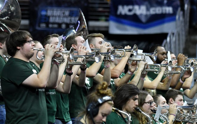 The Michigan State band plays during the game against Bradley.