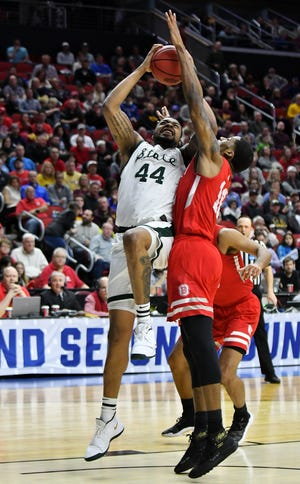Michigan State forward Nick Ward had eight points in 10 minutes in Thursday's win against Bradley.