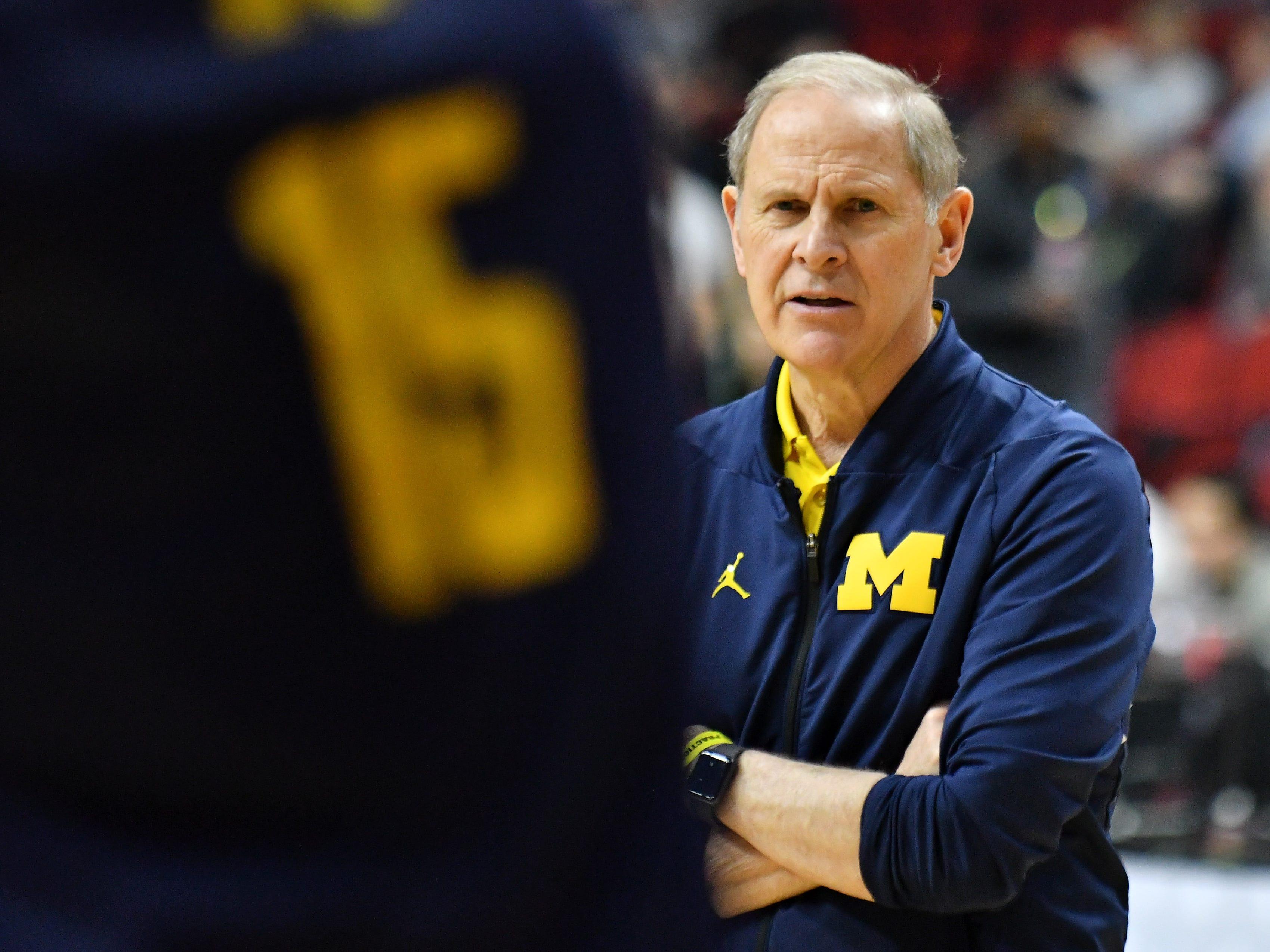 Michigan head coach John Beilein instructs during practice.