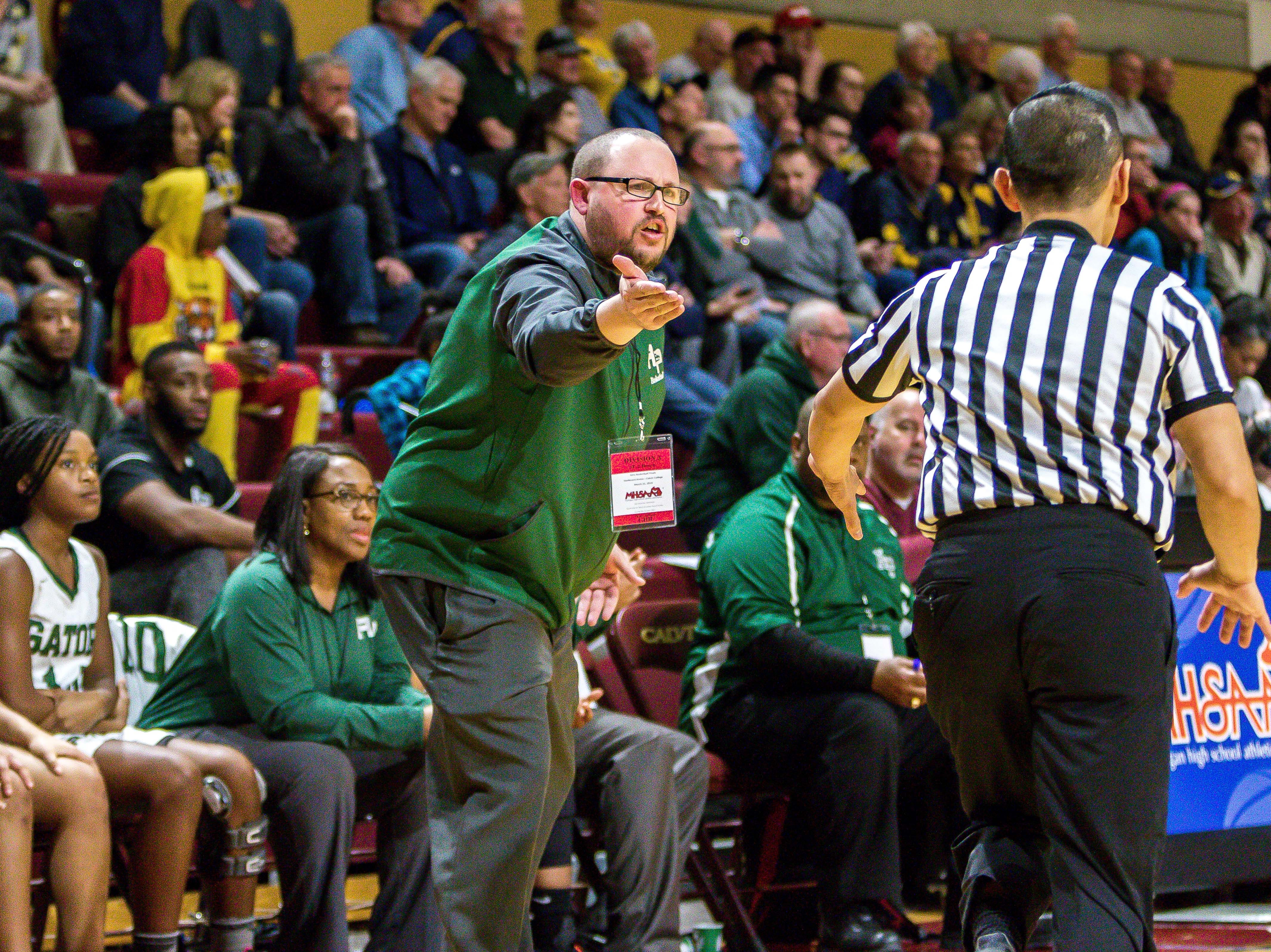 Ypsilanti Arbor Prep coach Scott Stine protests a call.