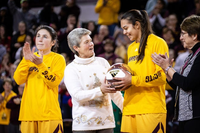 Central Michigan coach Sue Guevara has been blessed with the play of senior standouts Presley Hudson, left, and Reyna Frost, right.