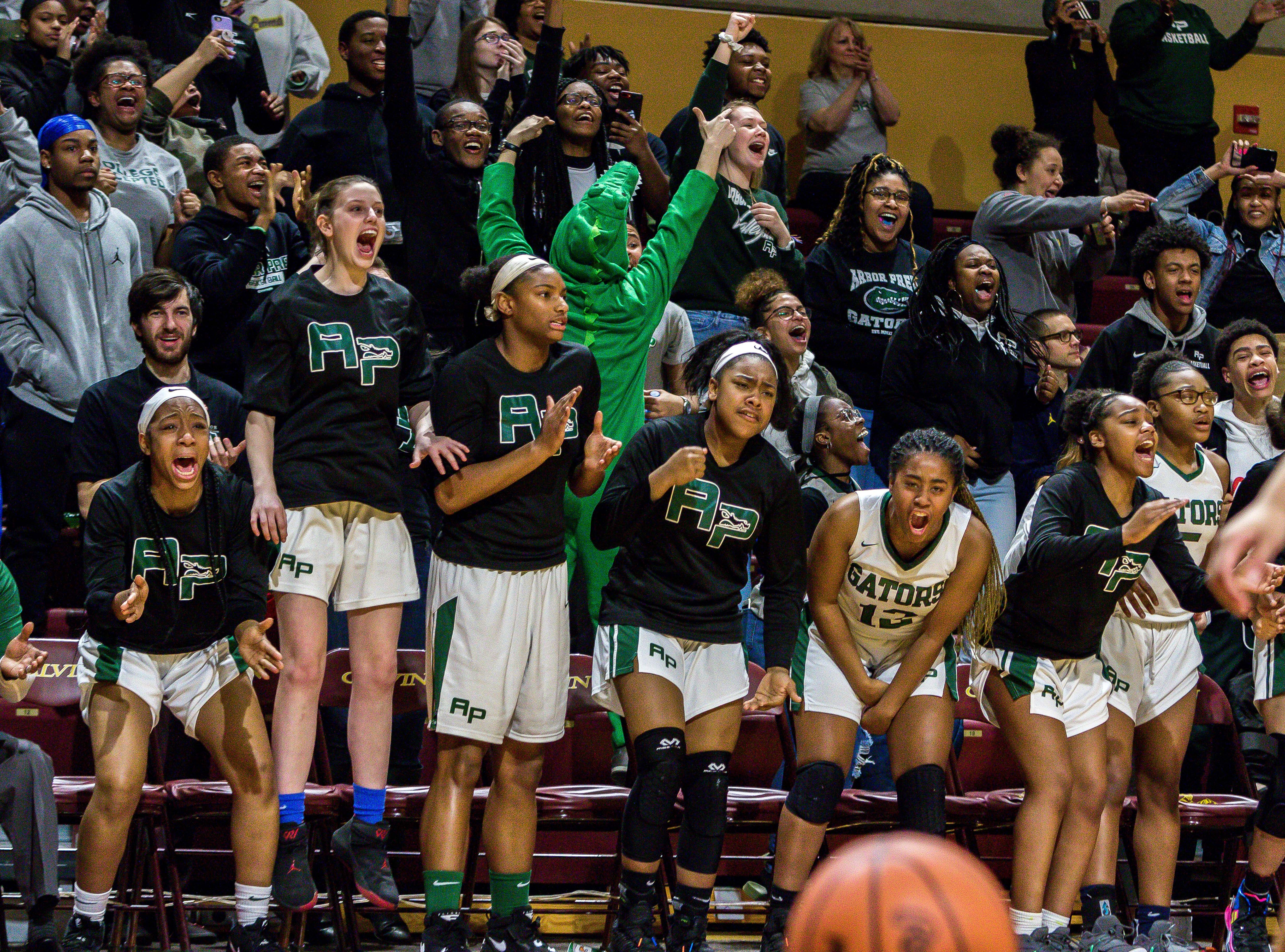 Ypsilanti Arbor Prep's bench and crowd react in overtime.