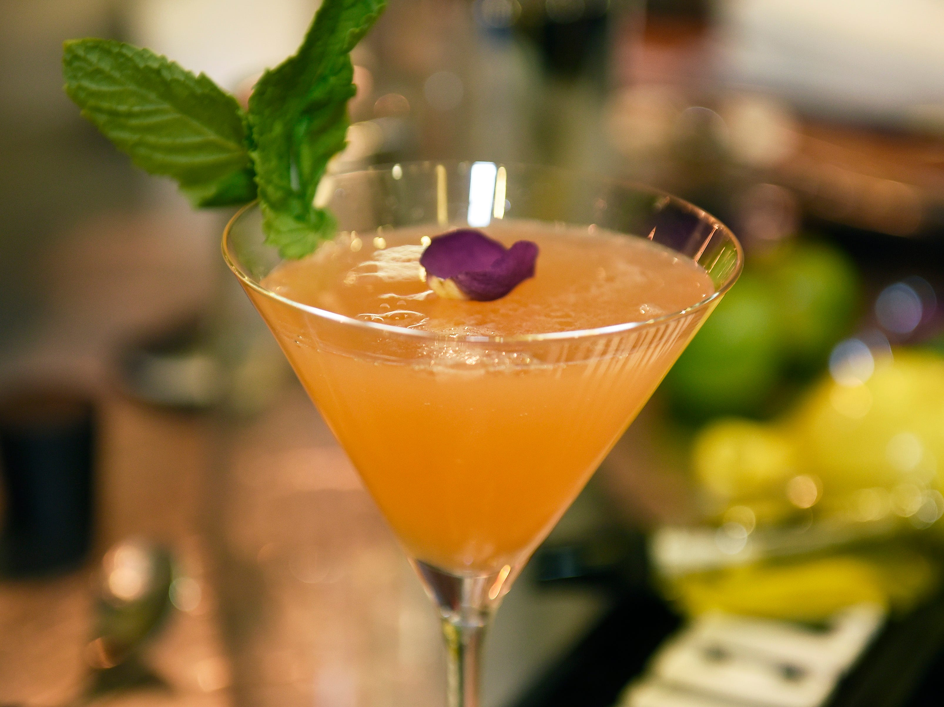 """Detail shot of the """"Ron Con Baya """" cocktail."""