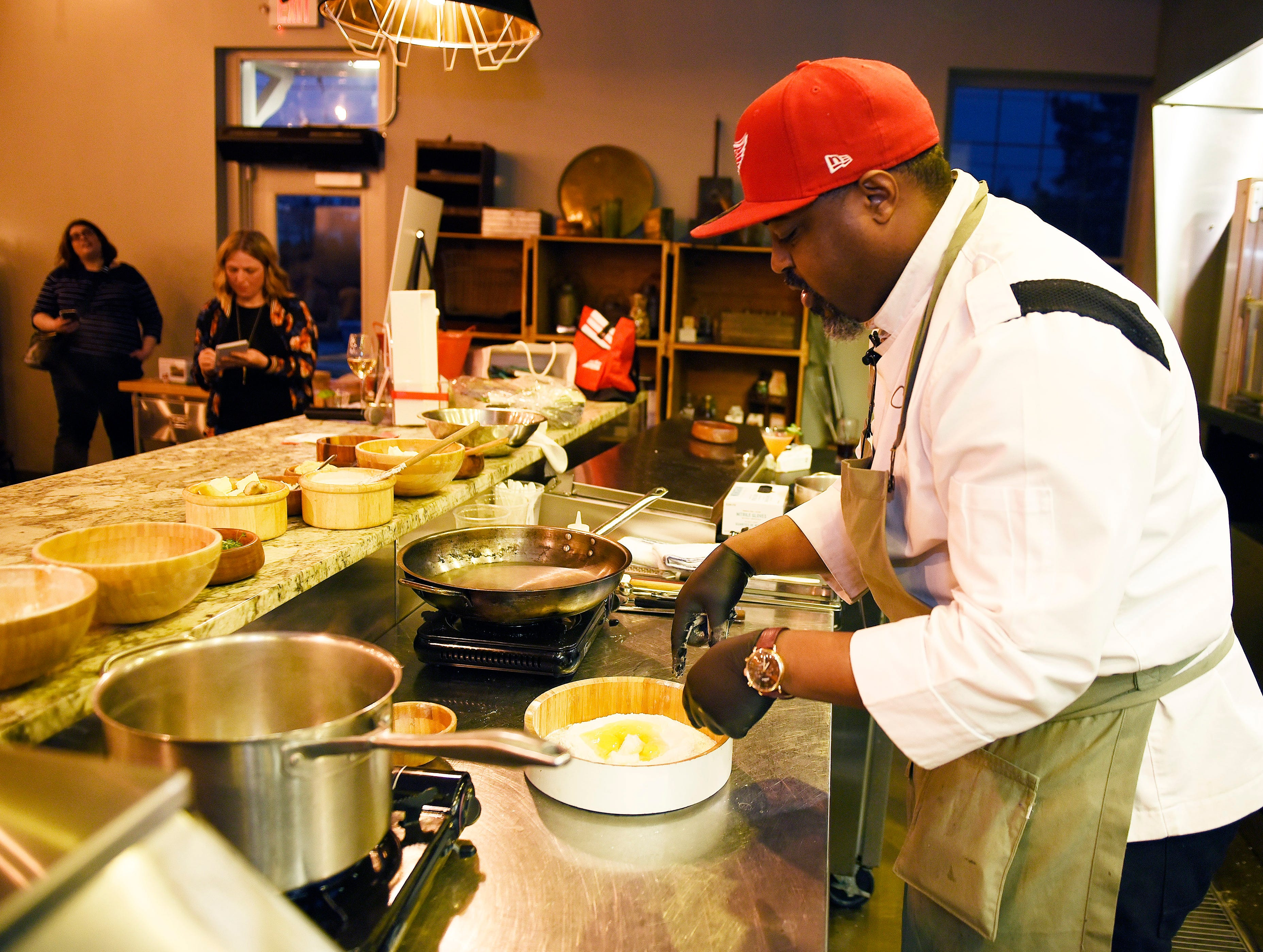Max Hardy, Executive Chef, The River Bistro, he is seen making a ravioli pasta dish.