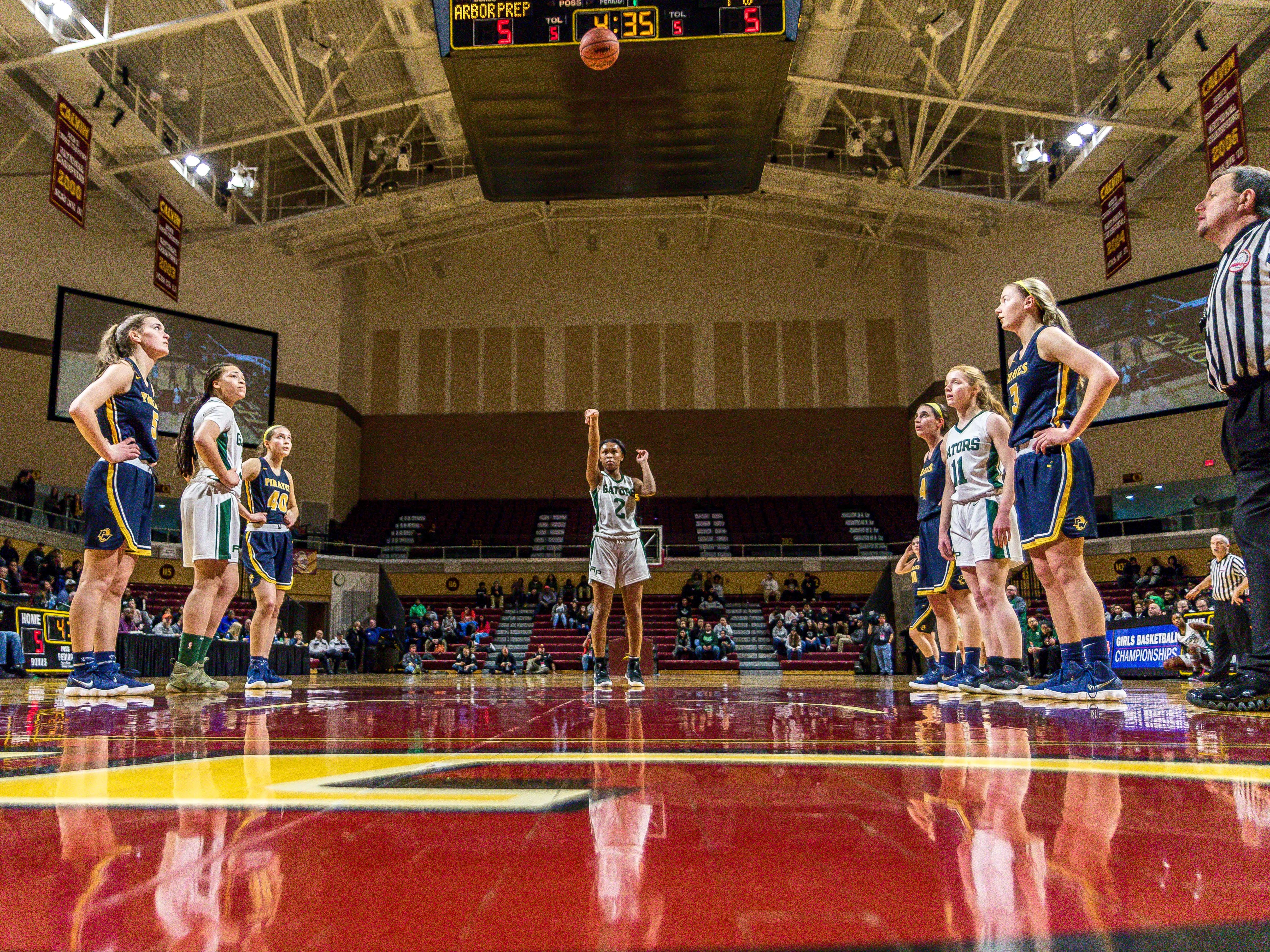 Ypsilanti Arbor Prep's Jazmin Chupp shoots a free throw in the first half against Pewamo-Westphalia in the MHSAA Division 3 girls basketball semifinals at Calvin College in Grand Rapids.