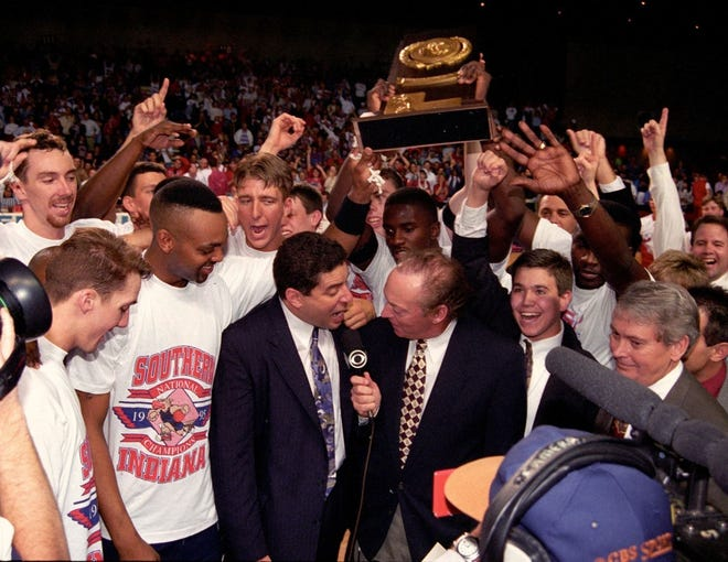Bruce Pearl interviews with CBS after USI won the 1995 Division II National Championship.