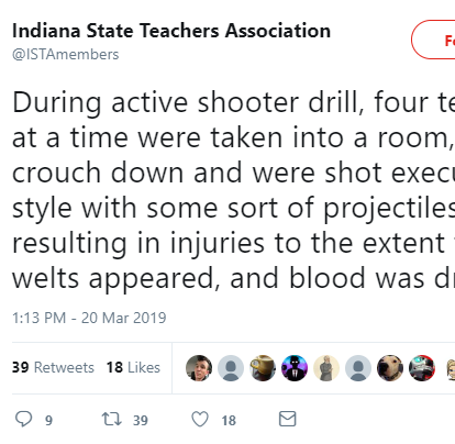 Indiana State Teachers Association: Active shooter drills went too far, injured participants