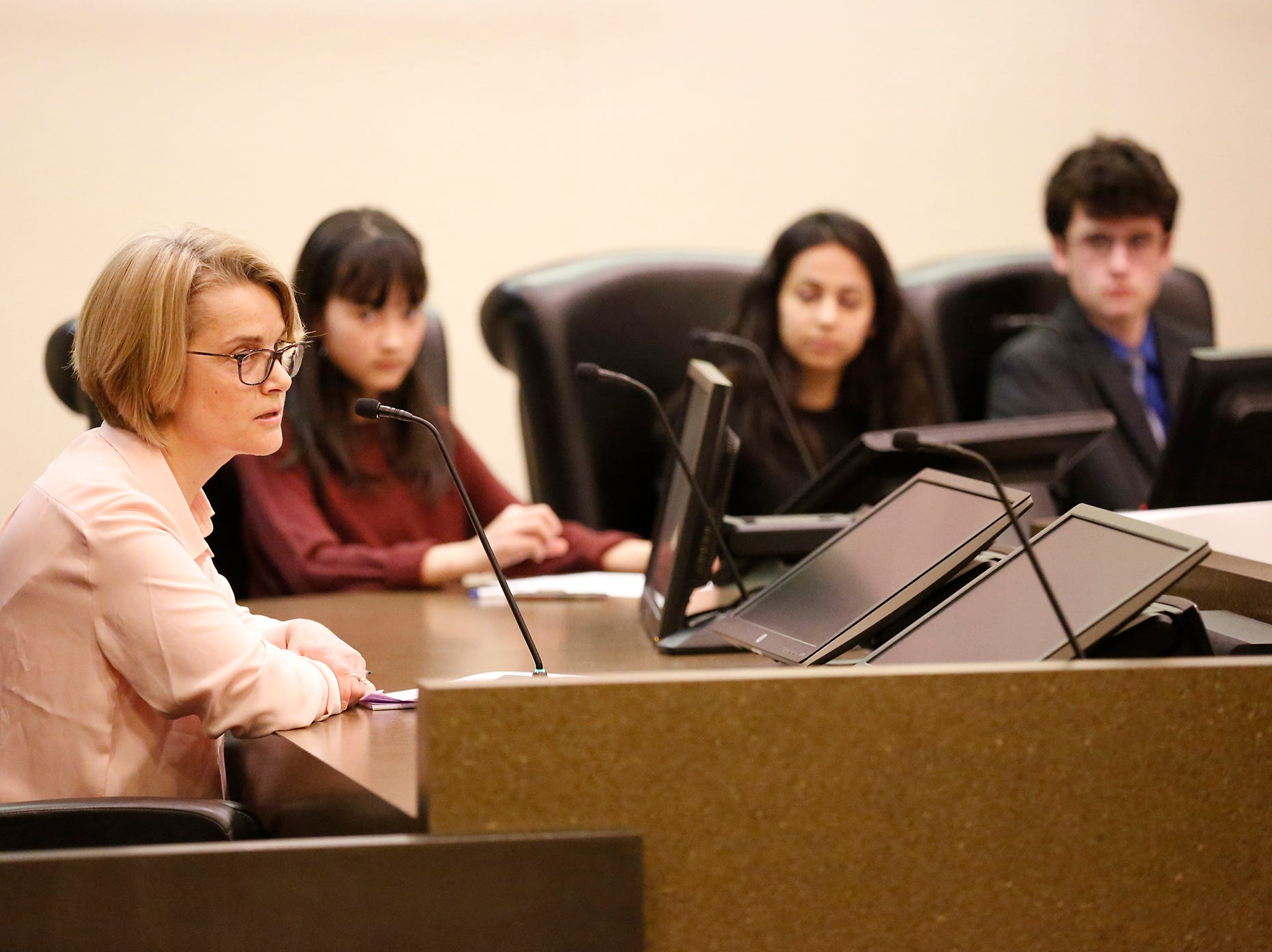 The Fond du Lac Family YMCA's Youth in Government program hosted a FDL School Board Candidate Forum Wednesday, March 20, 2019 at the City/County Government Center in Fond du Lac, Wis. Two of the candidates, Peggy Briester and Nick Teifke were on hand to answer questions by Youth In Government members. Doug Raflik/USA TODAY NETWORK-Wisconsin