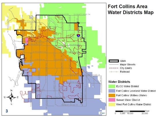 Fort Collins Area Water Districts Map