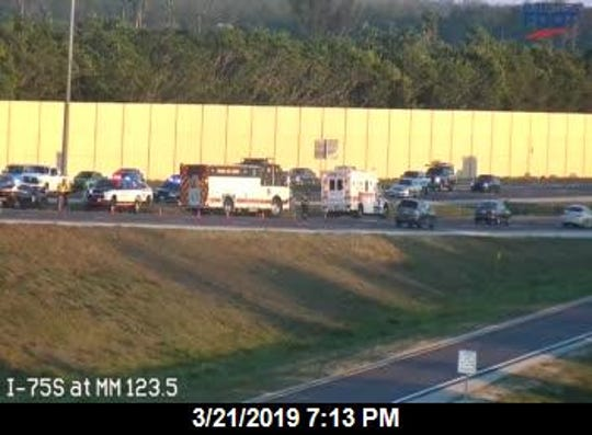 The left lane of southbound I-75 was blocked at Exit 123 Corkscrew Road Thursday after a tractor trailer flipped.
