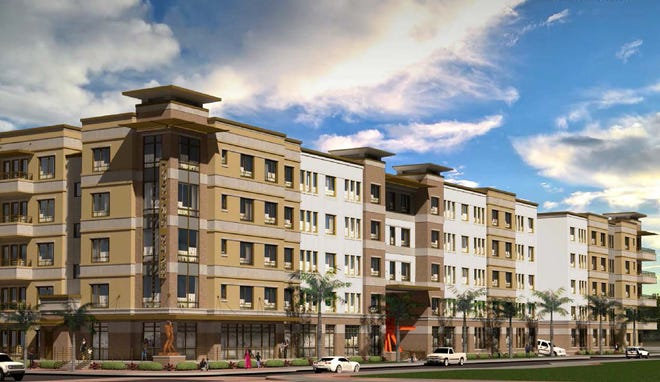 A rendering of Easton, a luxury apartment complex planned for downtown Fort Myers.