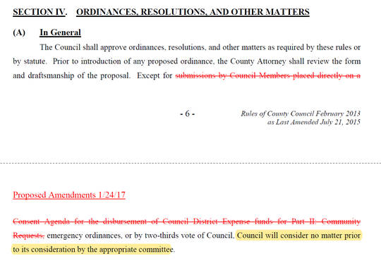 The Greenville County Council's rules were last updated in January 2017. Section IV requires all matters be reviewed by a council committee before the full council will vote on them.