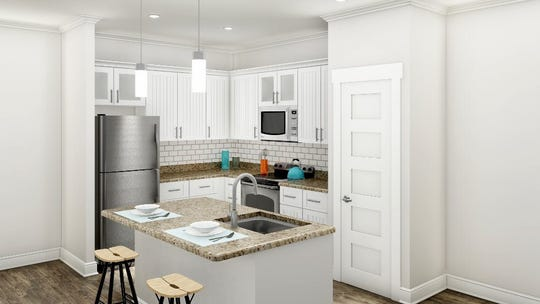 A rendering of a kitchen at the new Hawthorne at Simpsonville apartments under construction on Grandview Drive in Simpsonville.