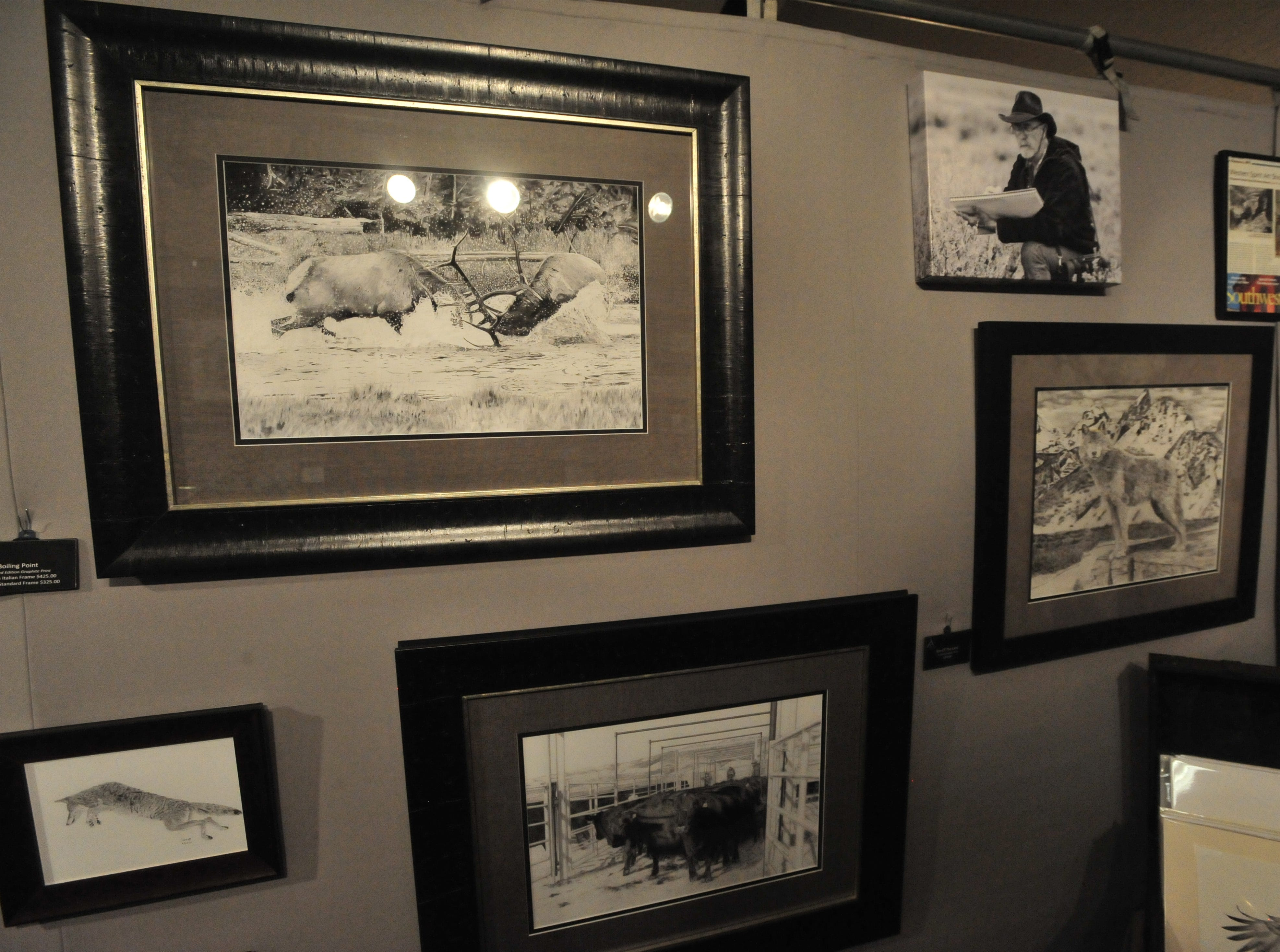 Lynn Cain pencil drawings on display at the Wild Bunch Art Show in the Hampton Inn.