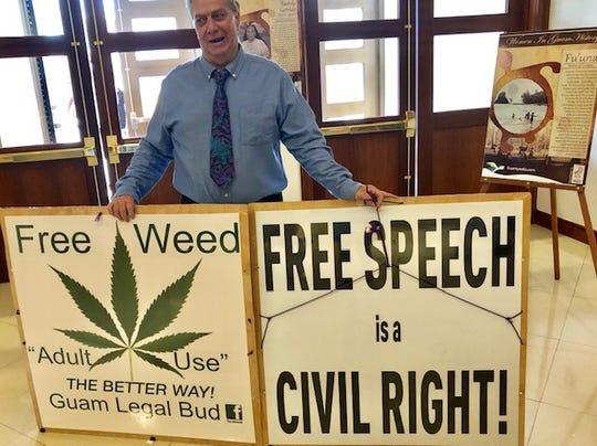 62-year-old August Fest advocates for the legalization of recreational marijuana use by adults, right outside the session hall of the Guam Congress Building on Thursday. This week's session agenda includes Sen. Clynt Ridgell's recreational marijuana bill.