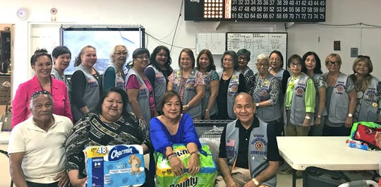 The Guam Sunshine Lions Club donated cleaning supplies to the Tamuning Senior Citizens Center on March 20.  Seated from left: Albert Toves, president; Louise Rivera, Mayor of Tamuning; Sylvia Mercurio, vice-president, and Lion Pete Babauta, president, GSLC. Standing from left: Melinda Mesa, assistant recreational leader; Lions Marietta Camacho, Maggie Aguon, Lola Flores, Dee Cruz, Lorraine Rivera, Julie Cruz, Clarice Quichocho, Dot Leon Guerrero, Josephine Borja, Jovie Mejorada, Marie Salas, Sid Weedin, Linda Villagomez, Jill Pangelinan and Lou Jean Borja.