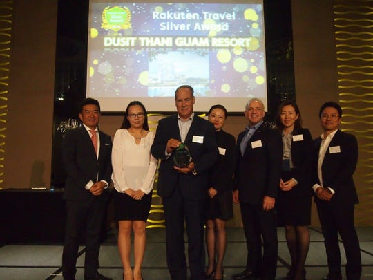 Dusit Thani Guam Resort celebrated its third year in a row as a Rakuten Travel Silver Award recipient during a recent ceremony held at the hotel's Royal Ballroom. The Silver Award recognition is based on five criteria to include: Gross Revenue, Room Nights Sold, Share Ratio, Year over Year Performance and Customer Satisfaction.