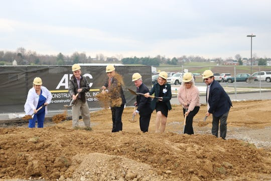 """Several """"break ground"""" for the new emergency department on March 21 at the Union County Methodist Hospital. L to R: Emergency Department Supervisor Belinda Burnette, Mike Floyd (Methodist Board of Directors), President and CEO Benny Nolen, Chairman Dane Shields, Vice Chair Linda White, Nyra Syers (UC Chamber of Commerce), and UC Judge Executive Adam O'Nan."""
