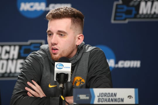 Iowa guard Jordan Bohannon speaks with the media Thursday in Columbus, Ohio, ahead of Friday's NCAA Tournament game vs. Cincinnati. Bohannon is looking to break out of a recent shooting slump.