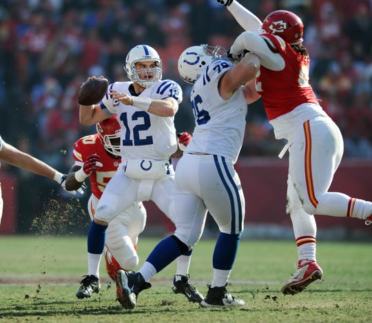 Before he joined the Colts, Justin Houston of the Kansas City Chiefs pressured Andrew Luck in a game at Arrowhead Stadium in Kansas City.