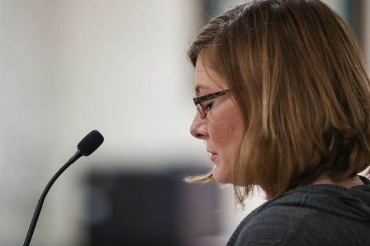 Kystie Phillips shares her personal testimony, in support of House Bill 1284, in front of the Senate judiciary committee at the Indiana Statehouse in Indianapolis, Wednesday, March 20, 2019. In 2017, Phillips shot a man who was in a violent scuffle with a conservation officer in front of her Ohio County home. Though she was protected by Indiana's laws on self-defense or defense of a third person, Phillips was sued by the dead man's family, costing her family a 2-year legal fight and thousands of dollars.