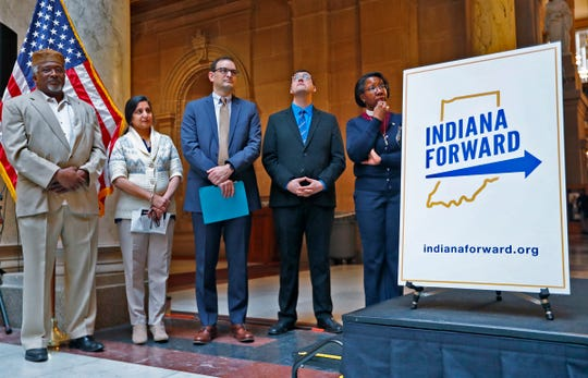 Imam Michael Saahir, with the Nur-Allah Islamic Center, from left, Anita Gupta, with the Hindu Temple, Rabbi Brett Krichiver, with the Indianapolis Hebrew Congregation, Rev. Nic Cable, with the Unitarian Universalist Congregation of Columbus, and Bishop Jennifer Baskerville-Burrows, with the Episcopal Diocese of Indianapolis and Southern Indiana, wait their turn to speak during the Indiana Forward Interfaith Moment of Action program, Thursday, March 21, 2019, at the Indiana Statehouse.  Interfaith leaders gathered to pray for healing for communities impacted by acts of terror and renewed their call on Indiana lawmakers to pass a comprehensive bias crimes law with an enumerated list of characteristics.