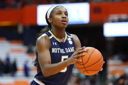 Notre Dame Fighting Irish guard Jackie Young (5) shoots a free throw against the Syracuse Orange during the second half at the Carrier Dome.
