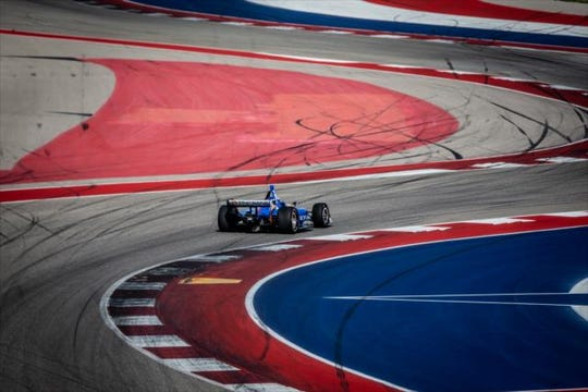 Chip Ganassi Racing rookie Felix Rosenqvist turns laps around the Circuit of the Americas road course during the NTT IndyCar Series test there this February.