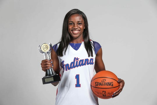 Indy Star Miss Basketball Jackie Young, from Princeton High School, poses for a photo the night of Indy Star High School Sports Awards at Lucas Oil Stadium, April 28th, 2016.