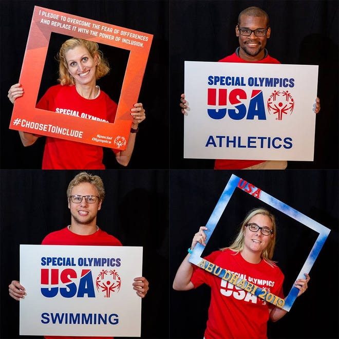 Special Olympics Indiana athletes (clockwise from top left) Katie Crawford, Andrew Peterson, Heather Zwingelberg and Jerritt Covington all recently competed in the World Games.