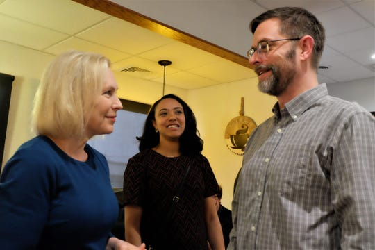Sen. Kirsten Gillibrand spoke with Kelcey Brackett, chair of Muscatine's Democratic Party and city councilor at-large, during a visit to RED Berry Diner in Muscatine Wednesday, March 20, 2019.