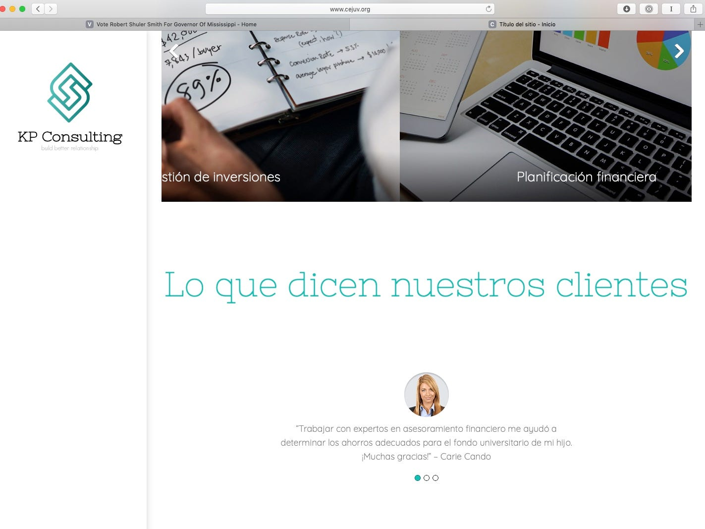 As seen in this March 21, 2019, screenshot, a Spanish-Language website features all three of the stock images above testimonials featured on the Robert Shuler Smith campaign website. On this particular site, the three images rotate through on a set interval.