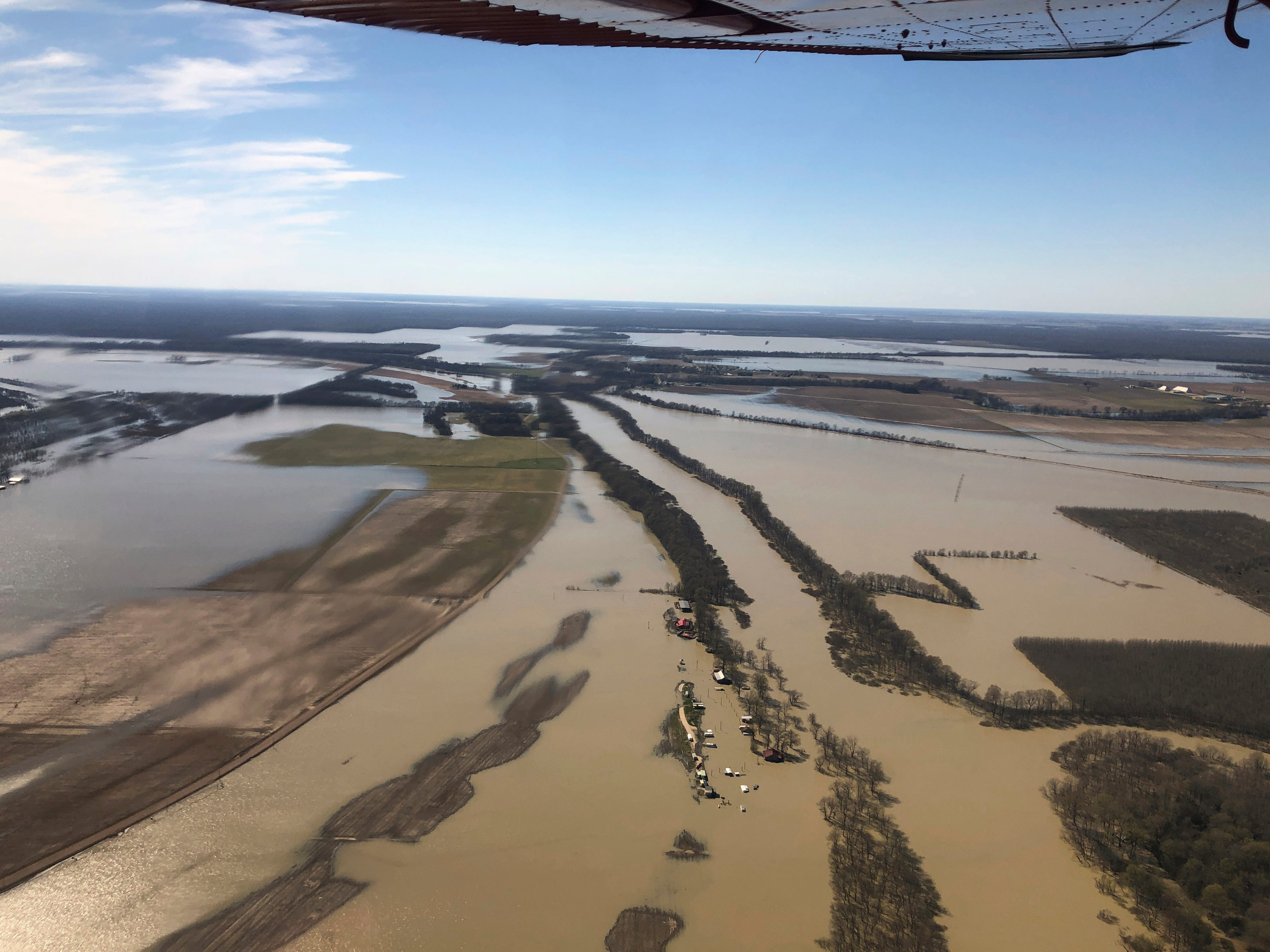 Backwater flooding covers stretches of farm lands near Yazoo City, Miss., Sunday, March 17, 2019, as seen in this aerial photograph. Various communities in the Mississippi Delta are combatting both Mississippi River flooding and backwater flooding that are affecting homes, businesses and farm lands.
