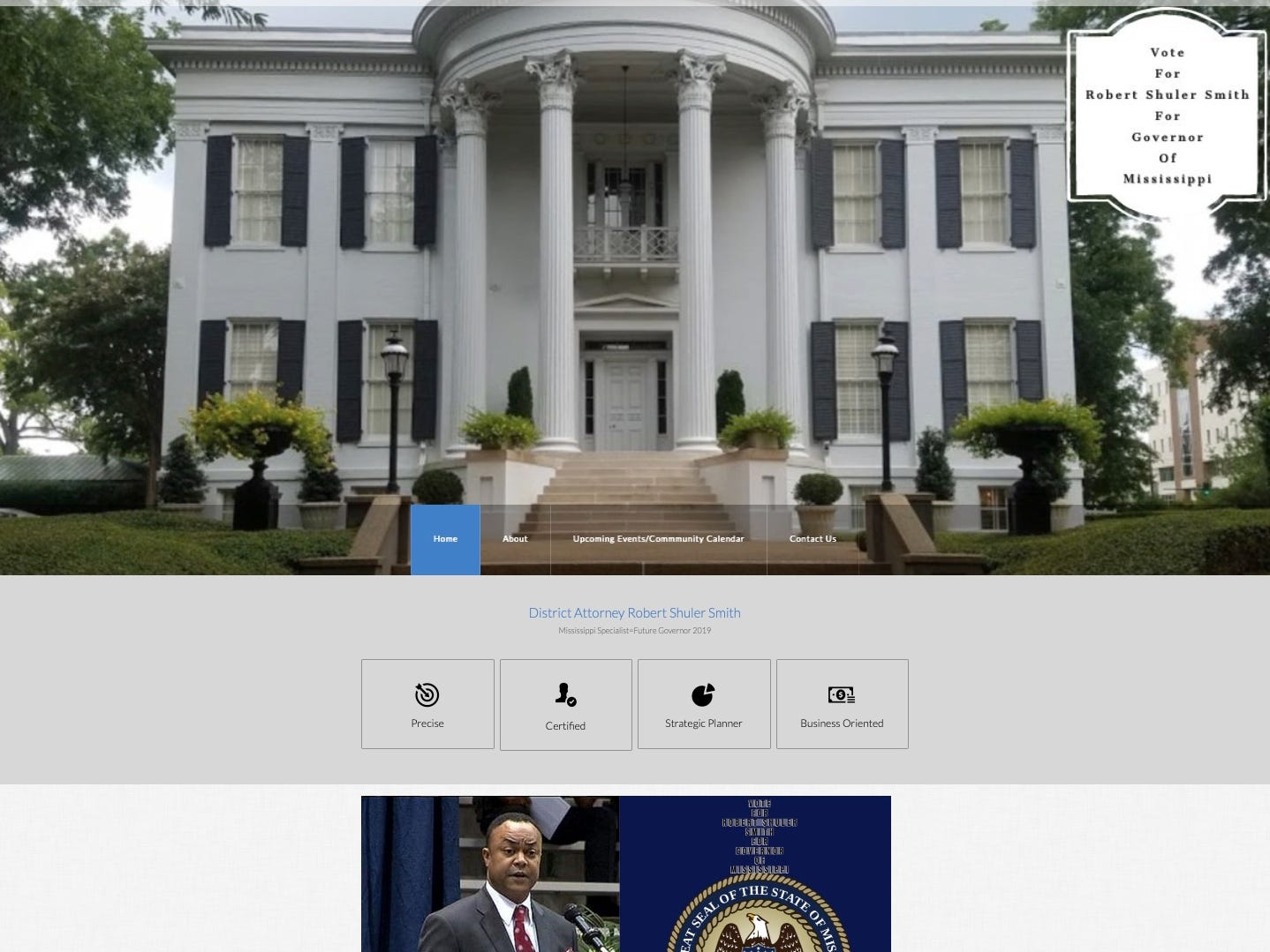 The photos and names of Shuler Smith's supporters on his website aren't real