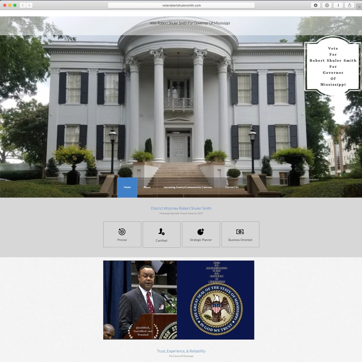 The photos of Robert Shuler Smith's supporters on his website aren't real