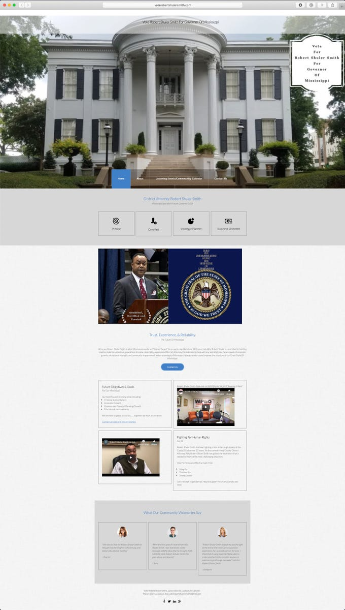 This March 21, 2019, screenshot, shows the home page for the Robert Shuler Smith for governor campaign website.