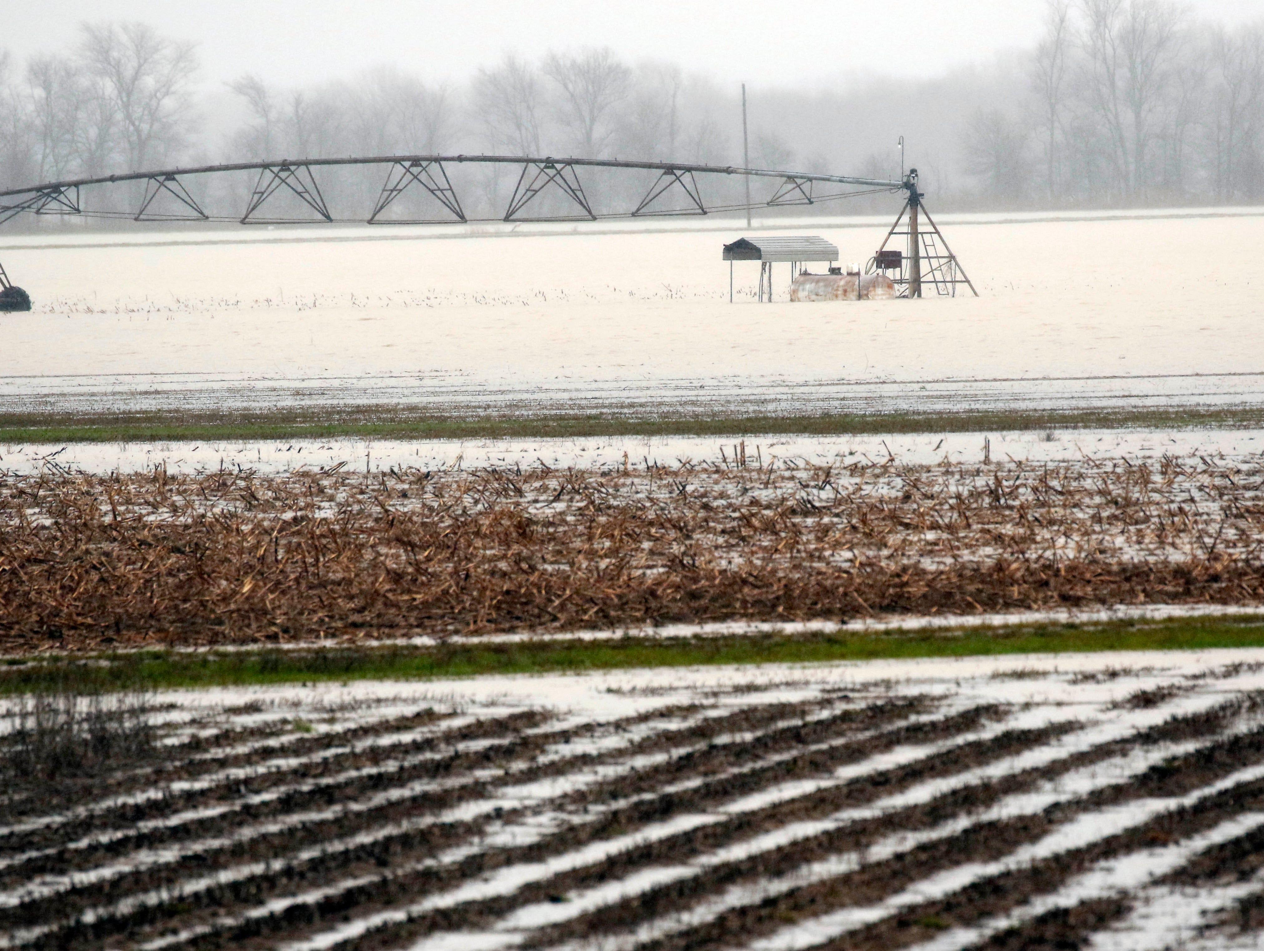 Backflow waters flood farmlands near Rolling Fork, Miss., Monday, March 11, 2019.