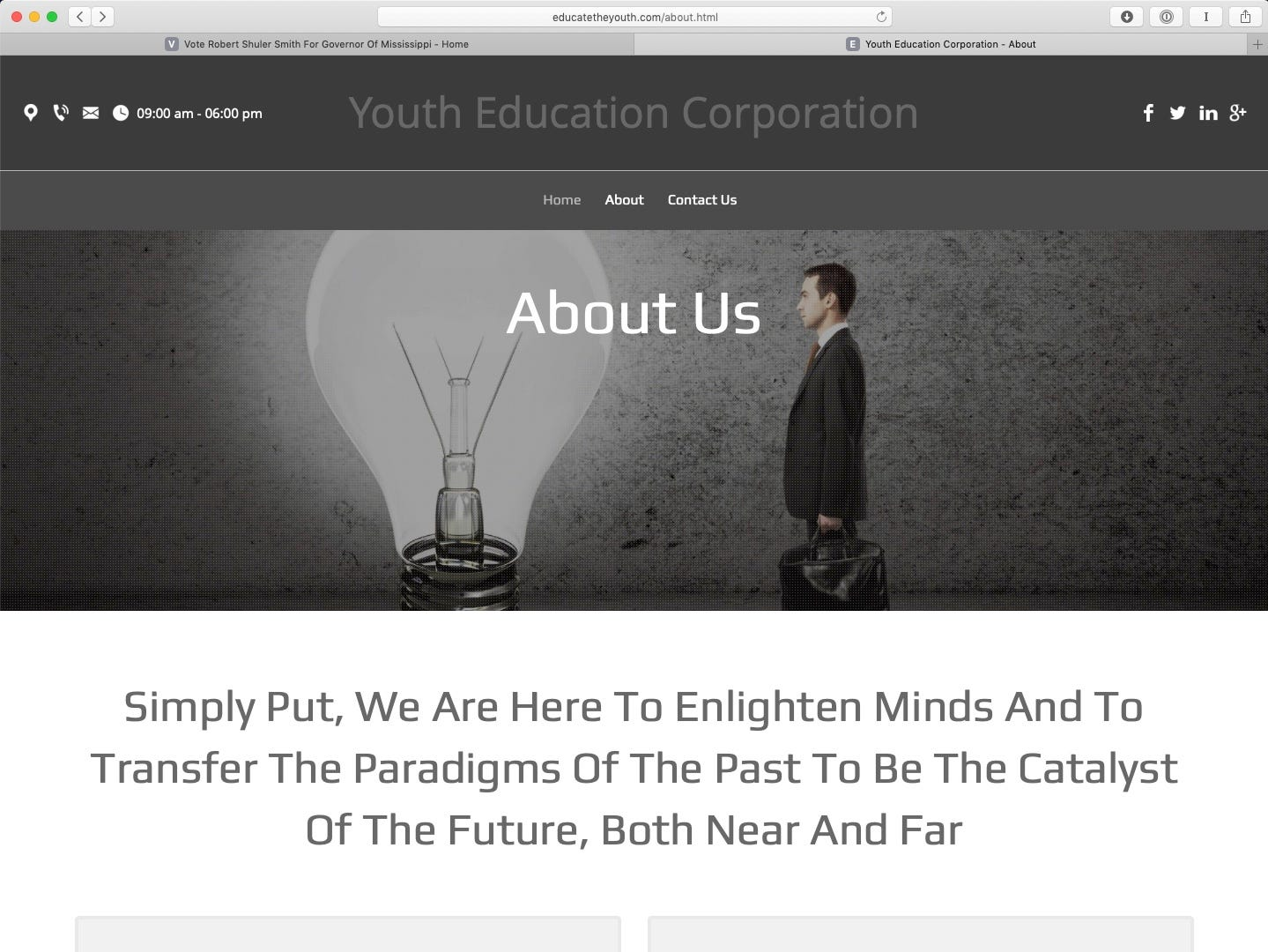 As seen in this March 21, 2019, screenshot, a website for Youth Education Corporation of Chicago features all three of the stock images above testimonials featured on the Robert Shuler Smith campaign website.