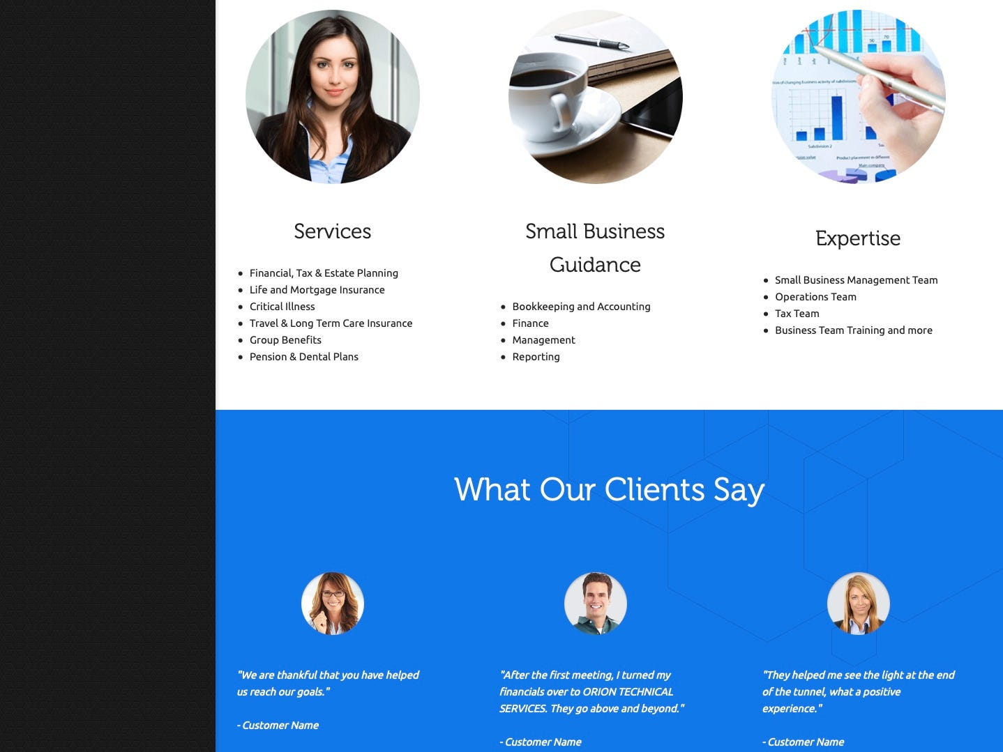 As seen in this March 21, 2019, screenshot, a website for financial services features all three of the stock images above testimonials featured on the Robert Shuler Smith campaign website.