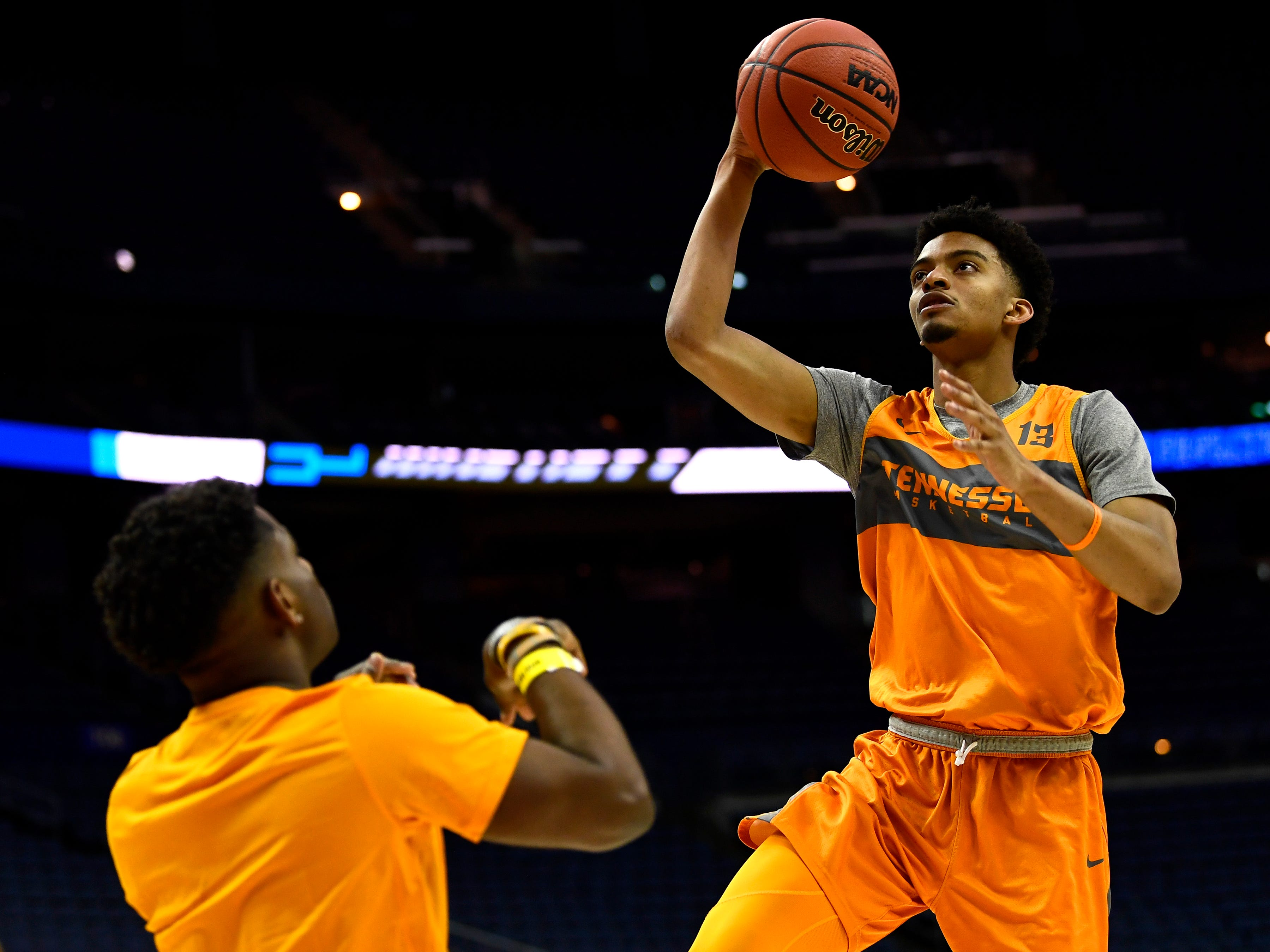 Tennessee guard Jalen Johnson (13) goes for the layup during Tennessee's practice on Thursday, March 21, 2019, before their first round NCAA Tournament game against Colgate at Nationwide Arena in Columbus, Ohio.