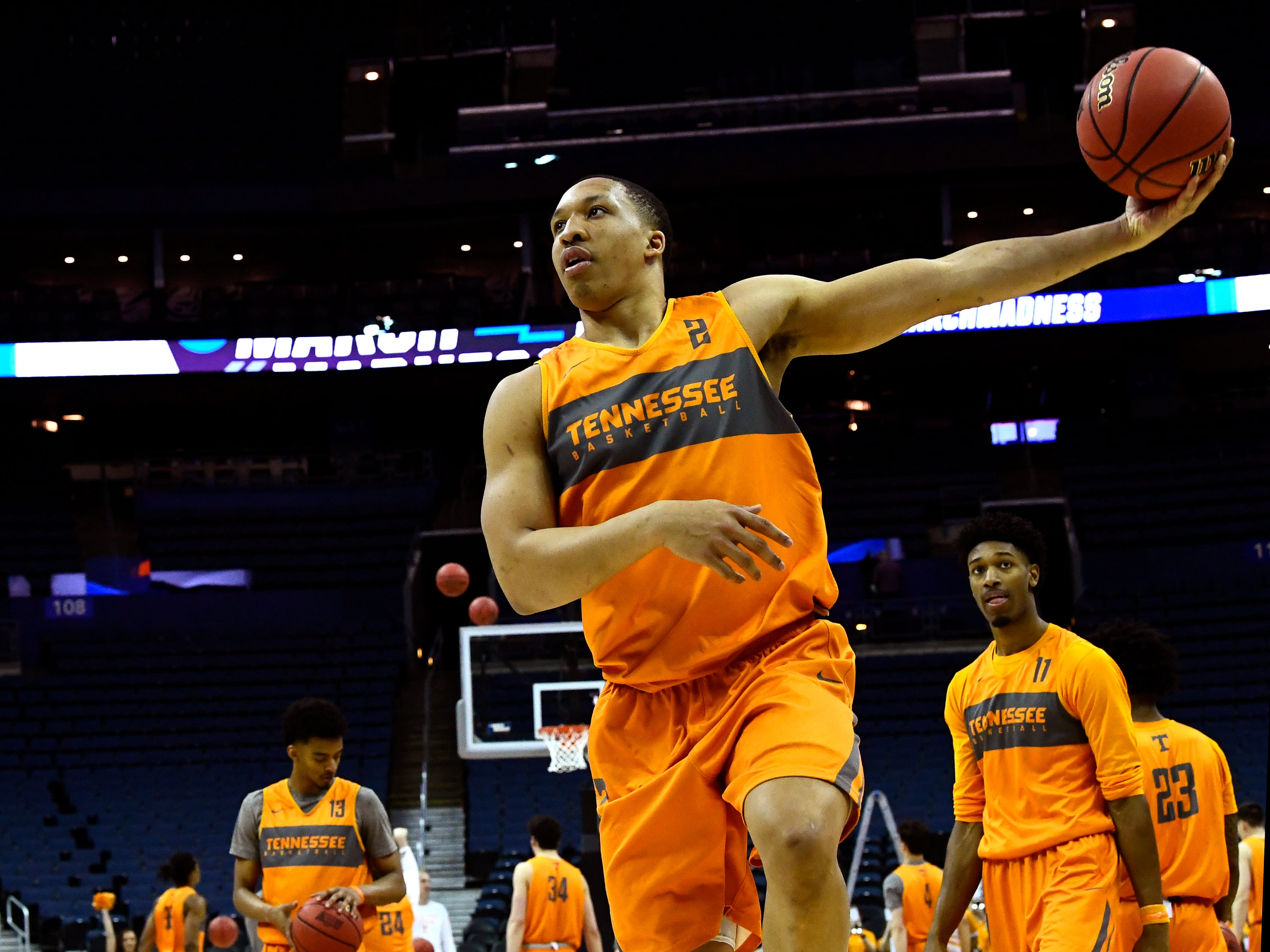 Tennessee forward Grant Williams (2) during Tennessee's practice on Thursday, March 21, 2019, before their first round NCAA Tournament game against Colgate at Nationwide Arena in Columbus, Ohio.