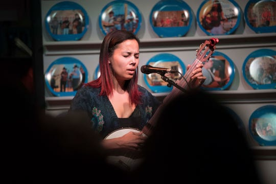 Rhiannon Giddens performs during the WDVX Blue Plate Special in downtown Knoxville Thursday, March 21, 2019.
