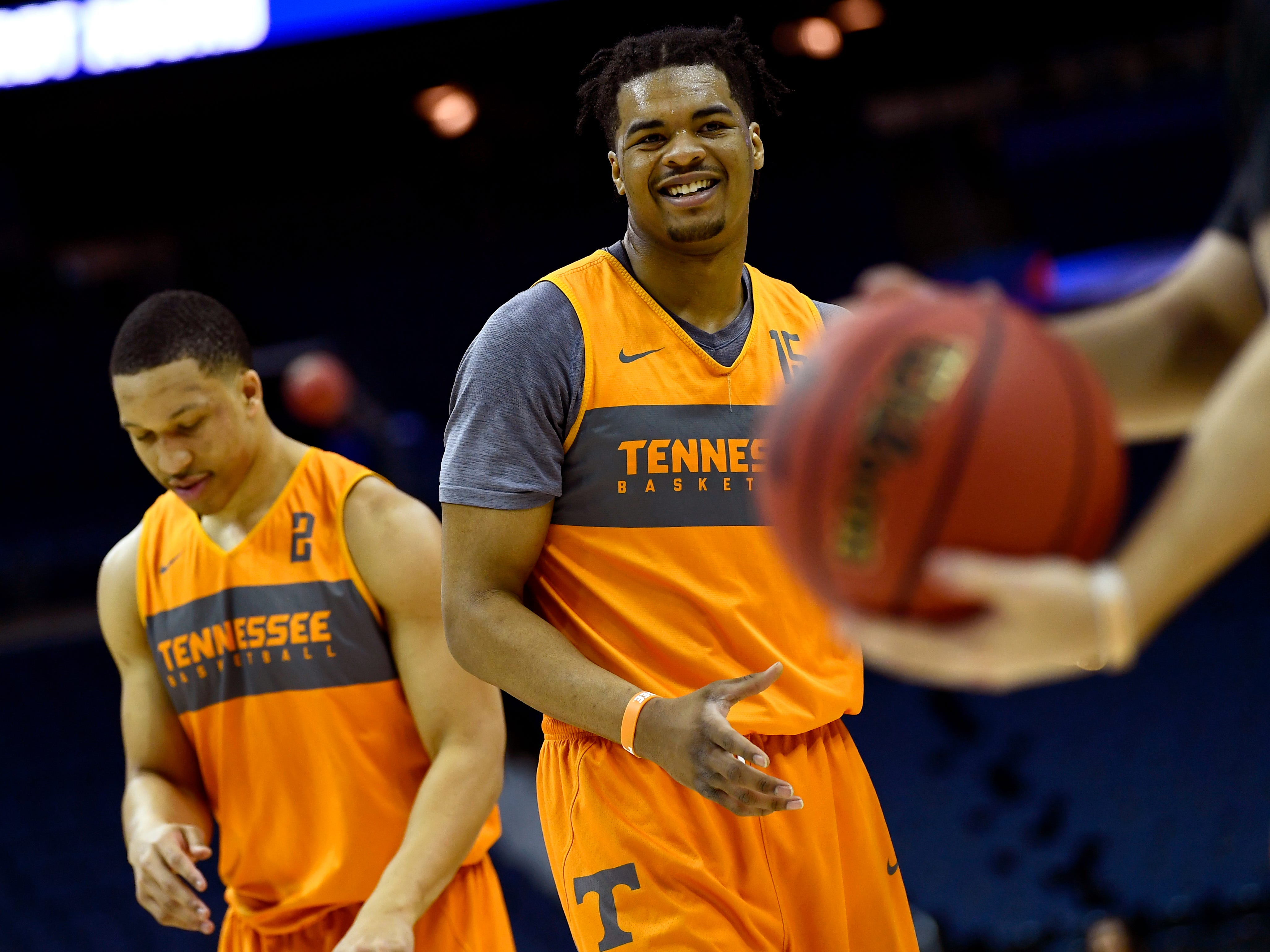 Tennessee forward Derrick Walker (15) during Tennessee's practice on Thursday, March 21, 2019, before their first round NCAA Tournament game against Colgate at Nationwide Arena in Columbus, Ohio.