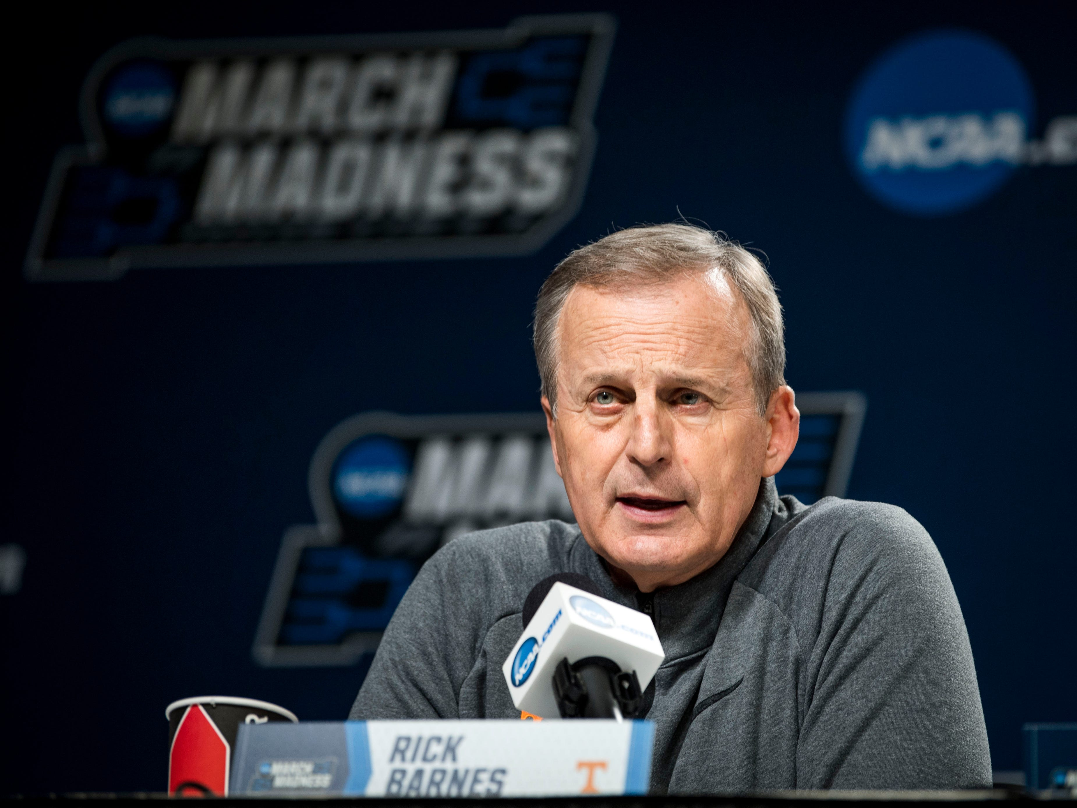 Tennessee head coach Rick Barnes speaks at a press conference before Tennessee takes the court for practice on Thursday, March 21, 2019, before their first round NCAA Tournament game against Colgate at Nationwide Arena in Columbus, Ohio.