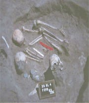 Three skulls were found in one grave; the burial sites in South Dakota date from the late 1600s and early 1700s.