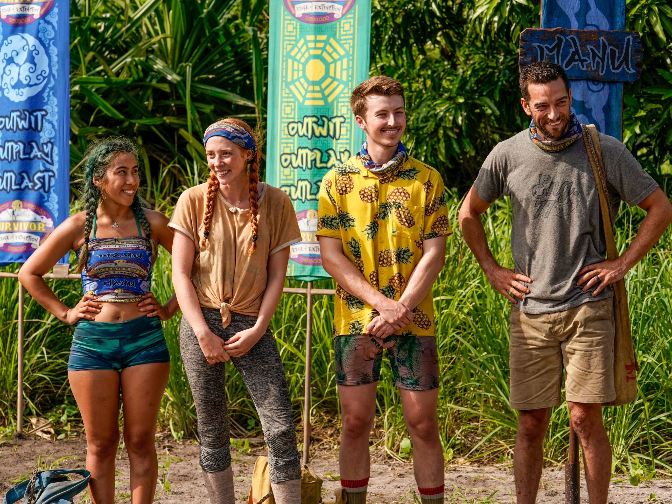 "Wendy Diaz, Victoria Baamonde, Gavin Whitson and Eric Hafemann pose together on an episode of ""Survivor: Edge of Extinction."""