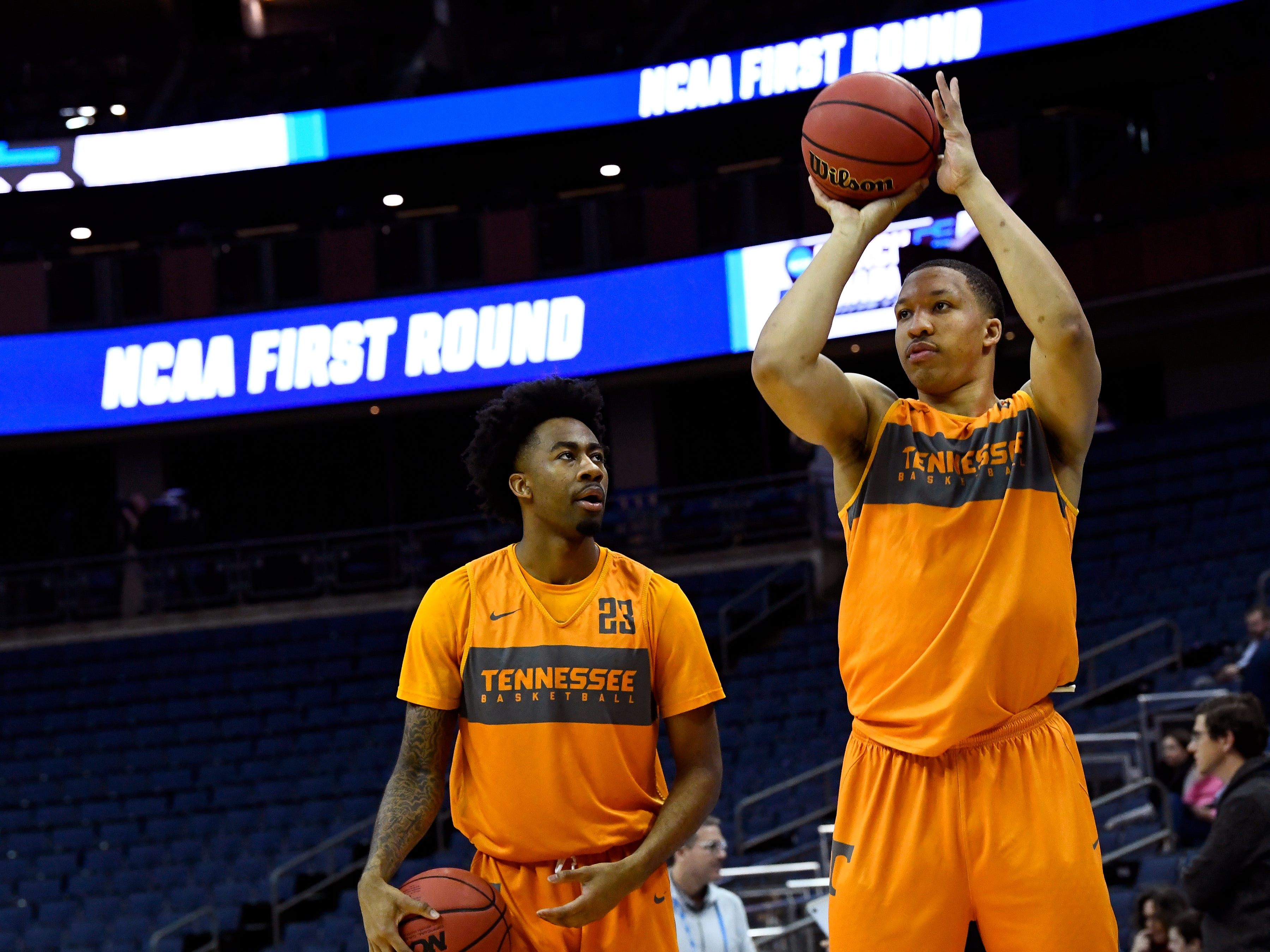 Tennessee guard Jordan Bowden (23) watches as Tennessee forward Grant Williams (2) shoots the ball during Tennessee's practice on Thursday, March 21, 2019, before their first round NCAA Tournament game against Colgate at Nationwide Arena in Columbus, Ohio.