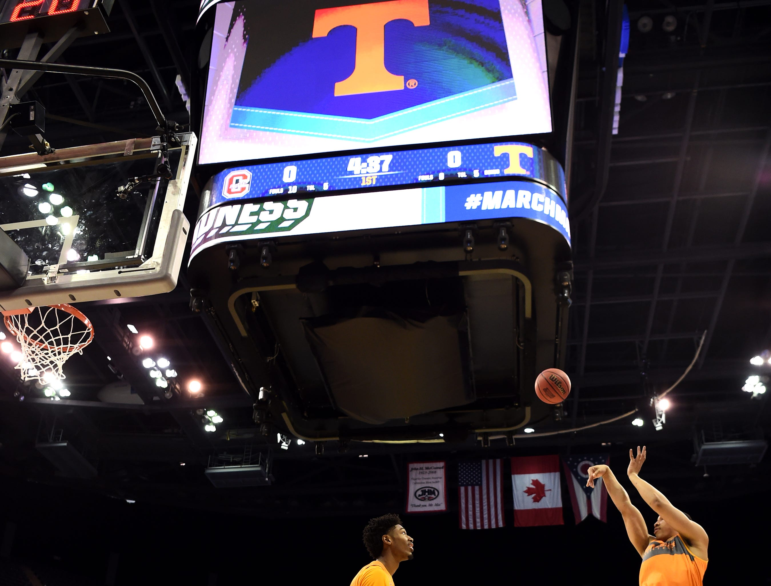 Tennessee forward Grant Williams (2) shoots past Tennessee forward Kyle Alexander (11) during Tennessee's practice on Thursday, March 21, 2019, before their first round NCAA Tournament game against Colgate at Nationwide Arena in Columbus, Ohio.