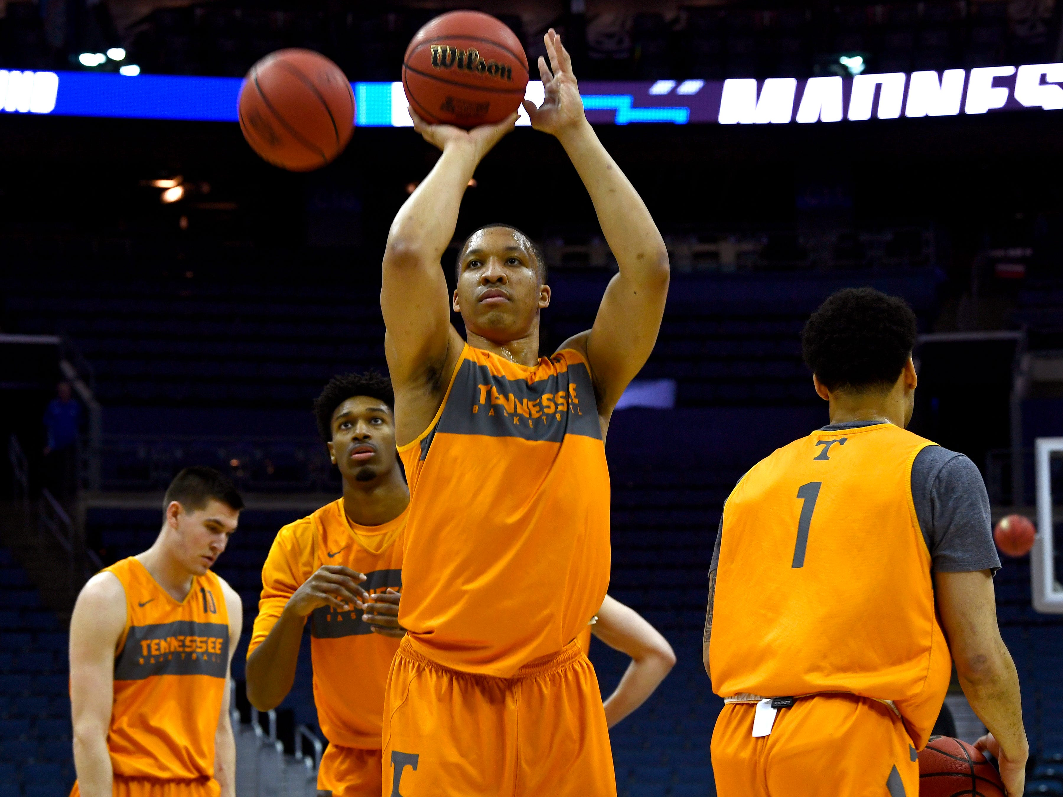 Tennessee forward Grant Williams (2) shoots the ball during Tennessee's practice on Thursday, March 21, 2019, before their first round NCAA Tournament game against Colgate at Nationwide Arena in Columbus, Ohio.